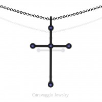 Art Masters Caravaggio 14K Black Gold 0.15 Ct Blue Sapphire Cross Pendant Necklace 16 Inch Chain C623-14KBGBS