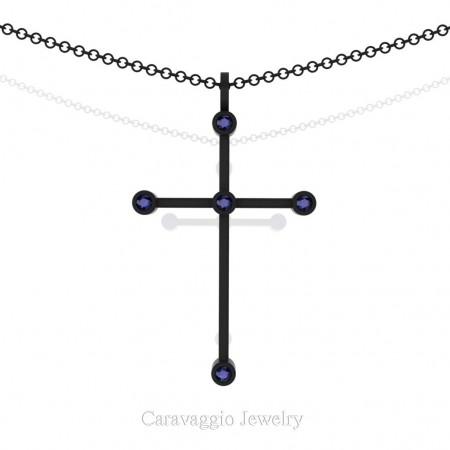 Art-Masters-Caravaggio-14K-Black-Gold-0.15-Ct-Blue-Sapphire-Cross-Pendant-Necklace-16-Chain-C623-14KBGBS-X