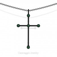 Art Masters Caravaggio 14K Black Gold 0.15 Ct Emerald Cross Pendant Necklace 16 Inch Chain C623-14KBGEM