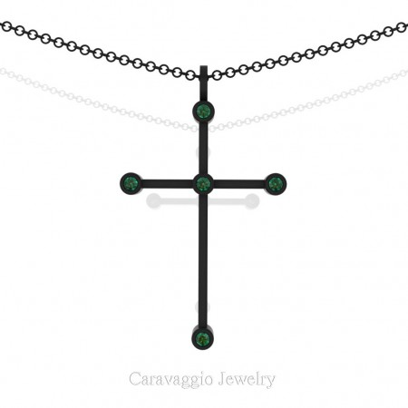 Art-Masters-Caravaggio-14K-Black-Gold-0.15-Ct-Emerald-Cross-Pendant-Necklace-C623M-14KBGEM-X