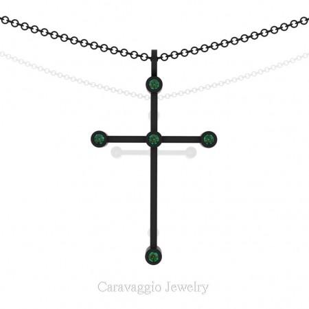 Art-Masters-Caravaggio-14K-Black-Gold-0.15-Ct-Emerald-Cross-Pendant-Necklace-C623M-14KBGEM-X