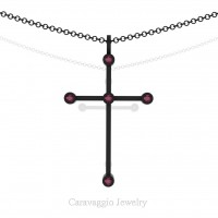 Art Masters Caravaggio 14K Black Gold 0.15 Ct Garnet Cross Pendant Necklace 16 Inch Chain C623-14KBGG