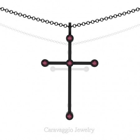 Art-Masters-Caravaggio-14K-Black-Gold-0.15-Ct-Garnet-Cross-Pendant-Necklace-16-Chain-C623-14KBGG-X