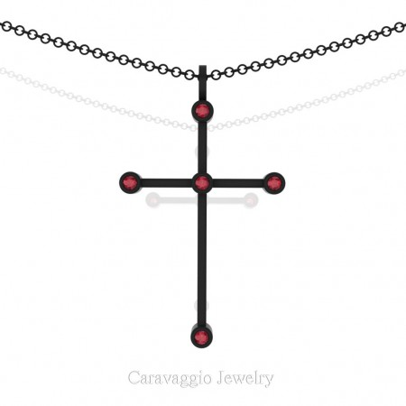 Art-Masters-Caravaggio-14K-Black-Gold-0.15-Ct-Ruby-Cross-Pendant-Necklace-16-Chain-C623-14KBGRR-X