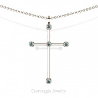 Art Masters Caravaggio 14K Rose Gold 0.15 Ct Blue Diamond Cross Pendant Necklace 16 Inch Chain C623-14KRGBLD