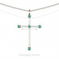 Art Masters Caravaggio 14K Rose Gold 0.15 Ct Blue Zircon Cross Pendant Necklace 16 Inch Chain C623-14KRGBZ