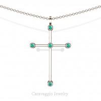 Art Masters Caravaggio 14K Rose Gold 0.15 Ct Blue Zircon Cross Pendant Necklace 16 Inch Chain C623-14KRGBZ