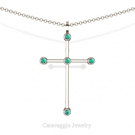 Art-Masters-Caravaggio-14K-Rose-Gold-0.15-Ct-Blue-Zircon-Cross-Pendant-Necklace-Chain-16-Chain-C623-14KRGBZ-X