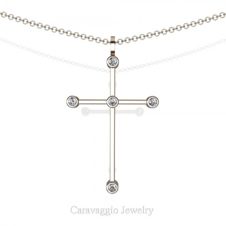 Art-Masters-Caravaggio-14K-Rose-Gold-0.15-Ct-Diamond-Cross-Pendant-Necklace-C623M-14KRGD-X