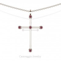 Art Masters Caravaggio 14K Rose Gold 0.15 Ct Garnet Cross Pendant Necklace 16 Inch Chain C623-14KRGG