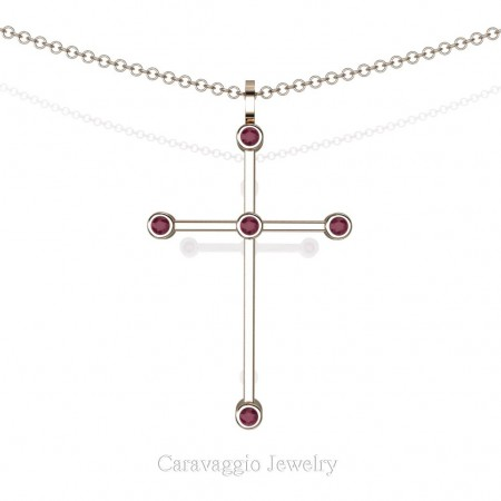Art-Masters-Caravaggio-14K-Rose-Gold-0.15-Ct-Garnet-Cross-Pendant-Necklace-16-Chain-C623-14KRGG-X