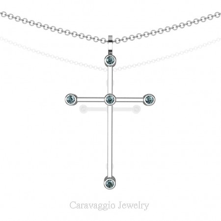 Art-Masters-Caravaggio-14K-White-Gold-0.15-Ct-Blue-Diamond-Cross-Pendant-Necklace-16-Chain-C623-14KWGBLD-X