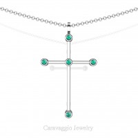 Art Masters Caravaggio 14K White Gold 0.15 Ct Blue Zircon Cross Pendant Necklace 16 Inch Chain C623-14KWGBZ