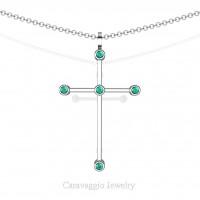 Art Masters Caravaggio 14K White Gold 0.15 Ct Blue Zircon Cross Pendant Necklace 16 Inch Chain C623-14KWGBZ
