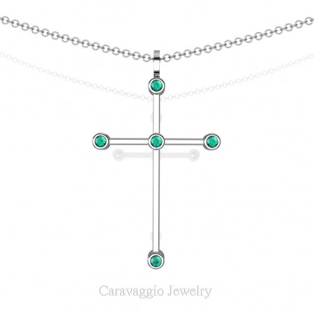 Art-Masters-Caravaggio-14K-White-Gold-0.15-Ct-Blue-Zircon-Cross-Pendant-Necklace-16-Chain-C623-14KWGBZ-X