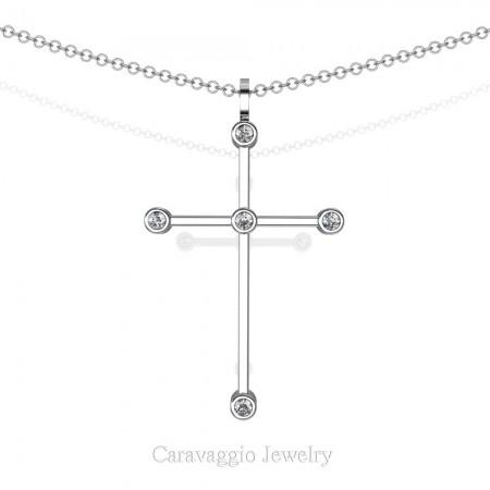 Art-Masters-Caravaggio-14K-White-Gold-0.15-Ct-Diamond-Cross-Pendant-Necklace-C623M-14KWGD-X