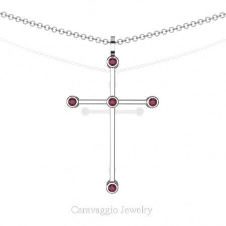 Art-Masters-Caravaggio-14K-White-Gold-0.15-Ct-Garnet-Cross-Pendant-Necklace-16-Chain-C623-14KWGG-X
