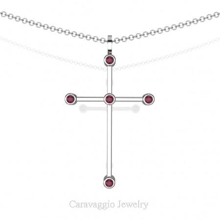 Art-Masters-Caravaggio-14K-White-Gold-0.15-Ct-Garnet-Cross-Pendant-Necklace-16-Chain-C623-14KWGG-X