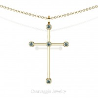 Art Masters Caravaggio 14K Yellow Gold 0.15 Ct Blue Diamond Cross Pendant Necklace 16 Inch Chain C623-14KYGBLD