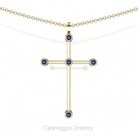 Art Masters Caravaggio 14K Yellow Gold 0.15 Ct Blue Sapphire Cross Pendant Necklace 16 Inch Chain C623-14KYGBS