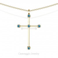Art Masters Caravaggio 14K Yellow Gold 0.15 Ct Blue Topaz Cross Pendant Necklace 16 Inch Chain C623-14KYGBT