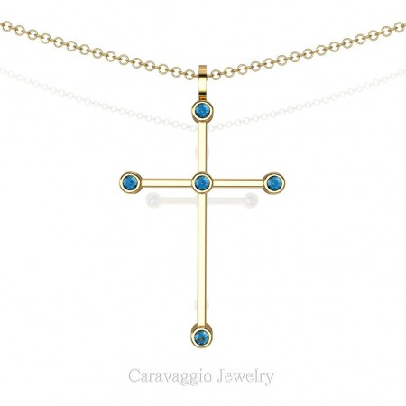 Art-Masters-Caravaggio-14K-Yellow-Gold-0.15-Ct-Blue-Topaz-Cross-Pendant-Necklace-16-Inch-Chain-C623-14KYGBT-X