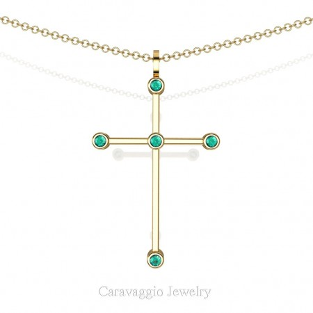Art-Masters-Caravaggio-14K-Yellow-Gold-0.15-Ct-Blue-Zircon-Cross-Pendant-Necklace-16-Inch-Chain-C623-14KYGBZ-X