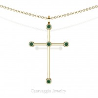 Art Masters Caravaggio 14K Yellow Gold 0.15 Ct Emerald Cross Pendant Necklace 16 Inch Chain C623-14KYGEM