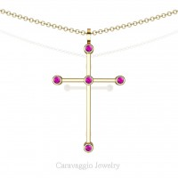 Art Masters Caravaggio 14K Yellow Gold 0.15 Ct Pink Sapphire Cross Pendant Necklace 16 Inch Chain C623-14KYGPS