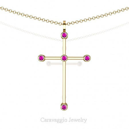 Art-Masters-Caravaggio-14K-Yellow-Gold-0.15-Ct-Pink-Sapphire-Cross-Pendant-Necklace-16-Chain-C623-14KYGPS-X