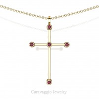 Art Masters Caravaggio 14K Yellow Gold 0.15 Ct Rose Ruby Cross Pendant Necklace 16 Inch Chain C623-14KYGRR
