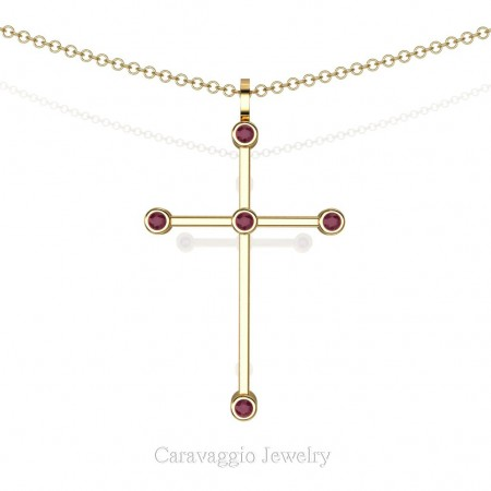 Art-Masters-Caravaggio-14K-Yellow-Gold-0.15-Ct-Rose-Ruby-Cross-Pendant-Necklace-16-Chain-C623-14KYGRR-X3