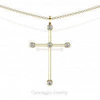 Art Masters Caravaggio 18K Yellow Gold 0.15 Ct Diamond Cross Pendant Necklace 16 Inch Chain C623-18KYGD