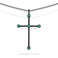 Art Masters Caravaggio 14K Black Gold 0.15 Ct Blue Zircon Cross Pendant Necklace 16 Inch Chain C623-14KBGBZ