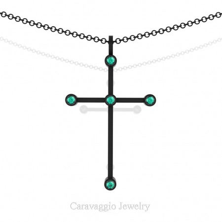 Art-Masters-Caravagio-14K-Black-Gold-0.15-Ct-Blue-Zircon-Cross-Pendant-Necklace-16-Chain-C623-14KBGBZ-X