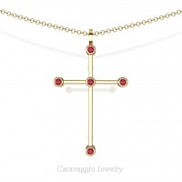 Art Masters Caravaggio 14K Yellow Gold 0.15 Ct Ruby Cross Pendant Necklace 16 Inch Chain C623-14KYGR