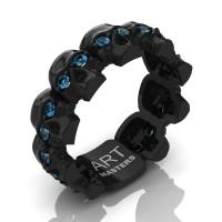 Mens Modern 14K Black Gold Blue Topaz Skull Cluster Wedding Ring R1125-14KBGBT