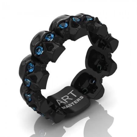 Mens-Modern-14K-Black-Gold-Blue-Topaz-Skull-Cluster-Wedding-Ring-R1125-14KBGBT-P