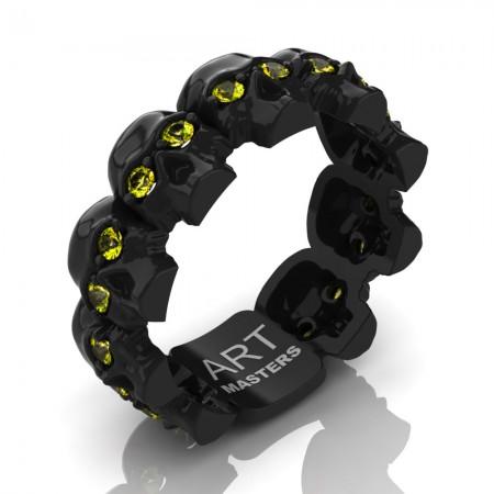 Mens-Modern-14K-Black-Gold-Yellow-Sapphire-Skull-Cluster-Wedding-Ring-R1125-14KBGYS-P
