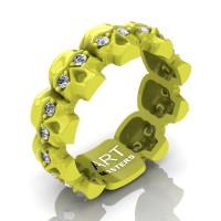 Mens Modern 14K Laser Yellow Gold Diamond Skull Cluster Wedding Ring R1125-14KLYGD