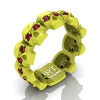 Mens Modern 14K Laser Yellow Gold Ruby Skull Cluster Wedding Ring R1125-14KLYGRR