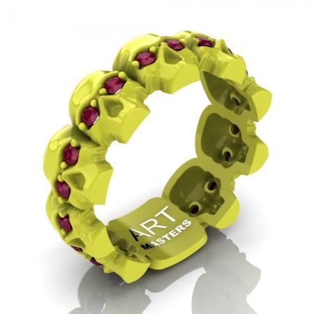 Mens-Modern-14K-Laser-Yellow-Gold-Ruby-Skull-Cluster-Wedding-Ring-R1125-14KLYRR-P