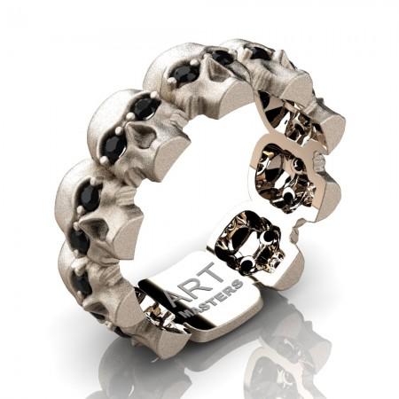 Mens-Modern-14K-Rose-Gold-Black-Diamond-Skull-Cluster-Wedding-Ring-R1125-14KSRGBD-P