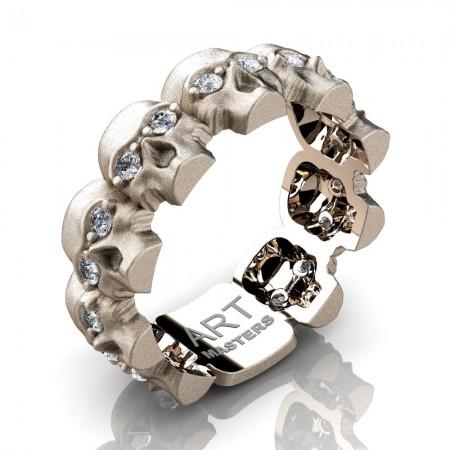 Mens-Modern-14K-Rose-Gold-Diamond-Skull-Cluster-Wedding-Ring-R1125-14KSRGD-P