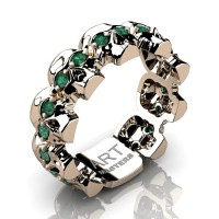 Mens Modern 14K Rose Gold Emerald Skull Cluster Wedding Ring R1125-14KRGEM