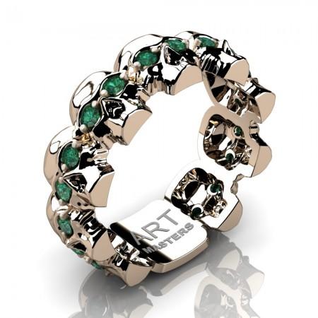 Mens-Modern-14K-Rose-Gold-Emerald-Skull-Cluster-Wedding-Ring-R1125-14KRGEM-P