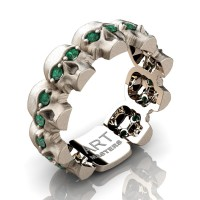 Mens Modern 14K Rose Gold Emerald Skull Cluster Wedding Ring R1125-14KSRGEM