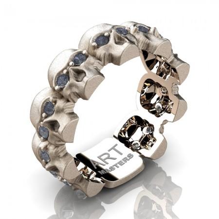 Mens-Modern-14K-Rose-Gold-Grey-Sapphire-Skull-Cluster-Wedding-Ring-R1125-14KSRGGS-P2