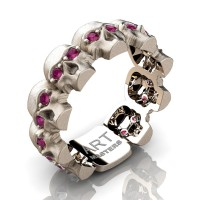 Mens Avant Garde 14K Rose Gold Ruby Skull Cluster Wedding Ring R1125-14KSRGRR