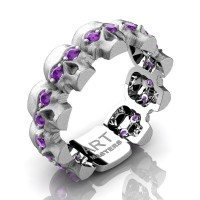 Mens Modern 14K White Gold Amethyst Skull Cluster Wedding Ring R1125-14KSWGAM
